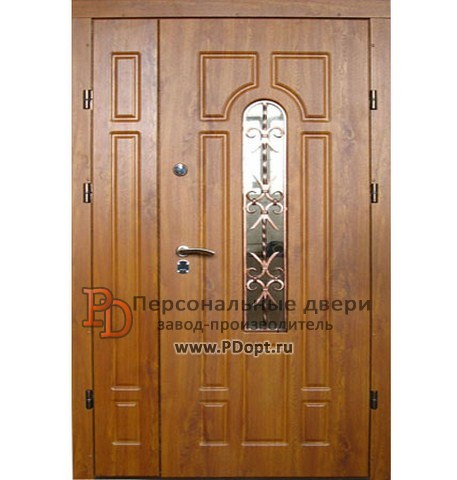 входная дверь с ковкой и стеклом в щелково