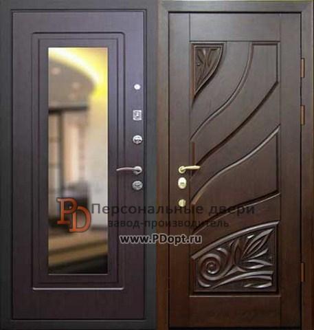 металлические элитные двери зеркалами